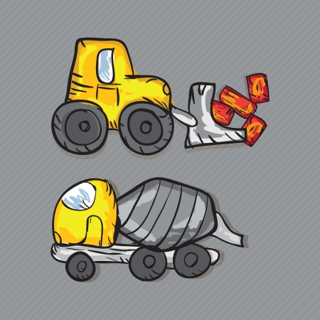 Construction Icons Truks ( Concrete Mixer Truck, and Backhoe loaders). Vector illustration Stock Vector - 17978349