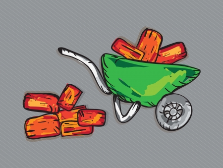 Wheelbarrow with bricks for construction. Vector illustration Vector