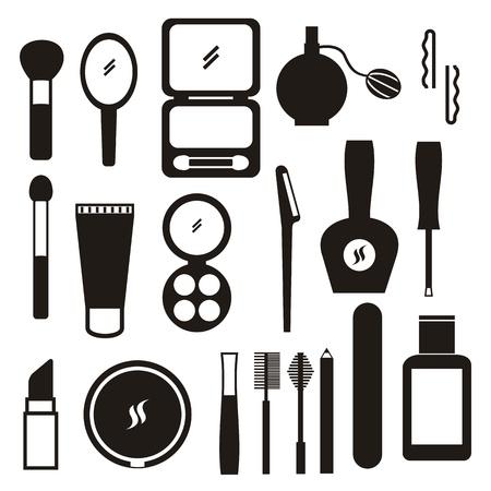 rímel: ícones de maquiagem sobre o fundo branco. Ilustra��o