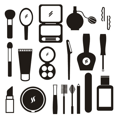applicator: makeup icons over white background.
