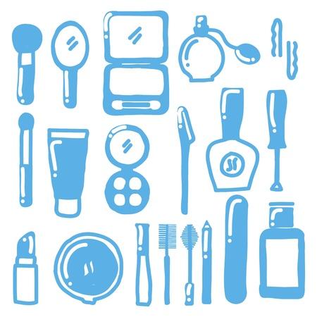 applicator: makeup icons over white background.   Illustration