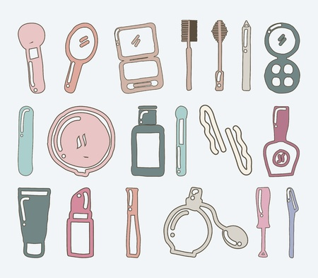 applicator: makeup icons over gray background. vector illustration