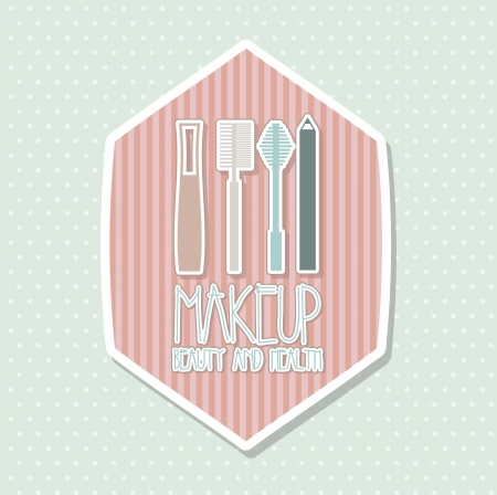 liner: makeup icons drawing over blue background. vector illustration Illustration