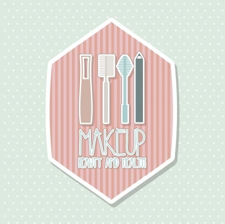 makeup powder: makeup icons drawing over blue background. vector illustration Illustration