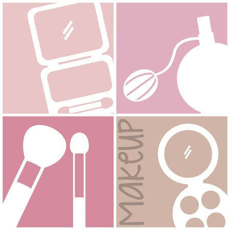 fragrance: make-up pictogrammen op pleinen achtergrond. vector illustratie Stock Illustratie