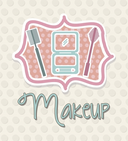 pomade: makeup icons over dots background. vector illustration