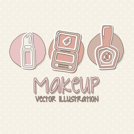 makeup icons over beige background.  Vector