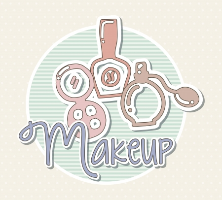 makeup icons over beige background. vector illustration