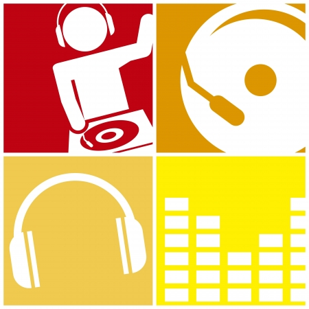 audio equipment: dj icons over squares background. vector illustration Illustration