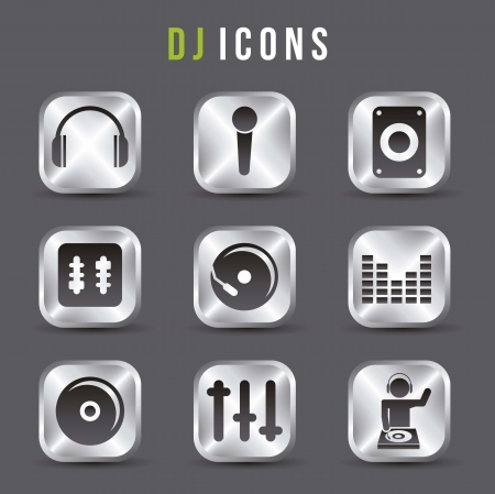 dj icons over gray background. vector illustration Vector