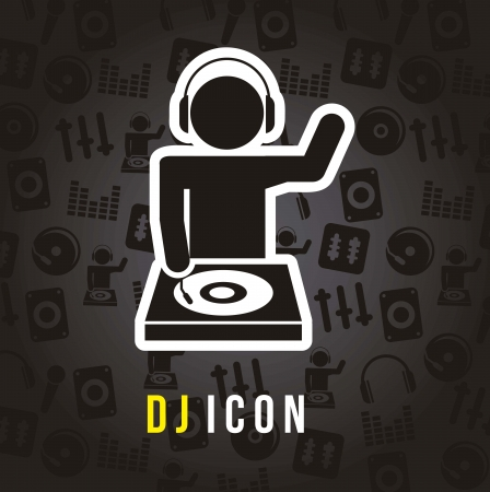 dj turntable: dj icons over black background. vector illustration