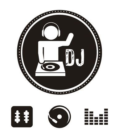 dj headphones: dj icons over white background. Illustration