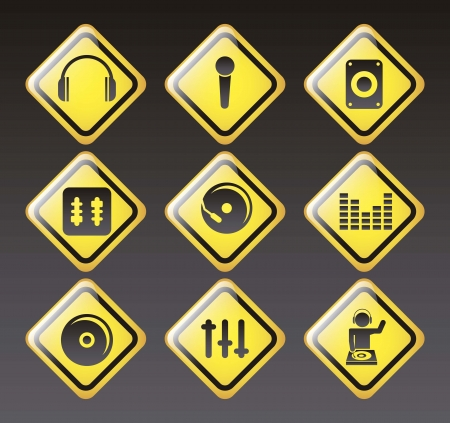 dj icons over black background. vector illustration Stock Vector - 18073625