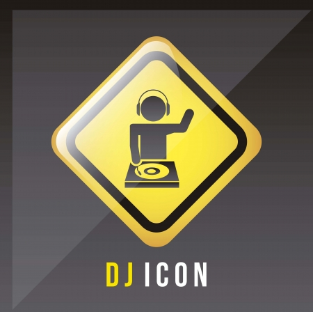 animator: dj icons over black background. vector illustration