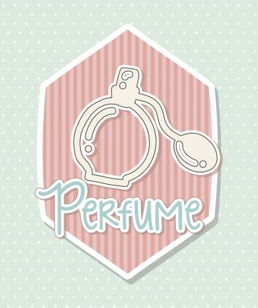 objec: perfume over cute background, label. vector illustration Illustration