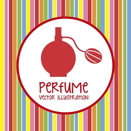 fragrance: kleurrijke parfum over lijnen achtergrond. vector illustratie Stock Illustratie