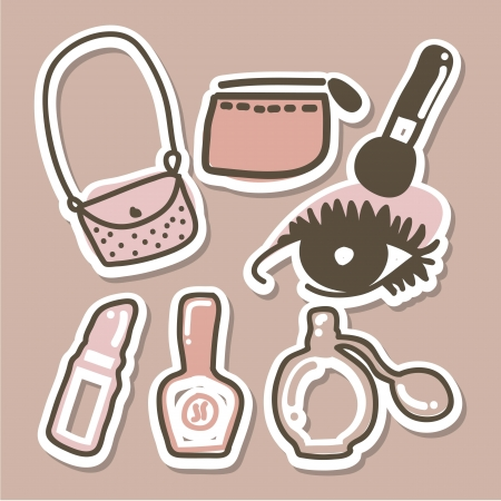 makeup powder: makeup icons over brown background. vector illustration   Illustration