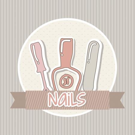 aseo personal: manicura y pedicura set con colores rosados. ilustración vectorial