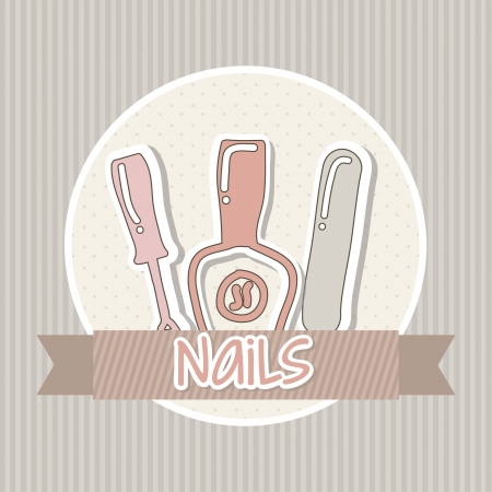 manicure and pedicure set with pink colors. vector illustration