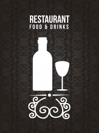 happy hour: bar label over black background.