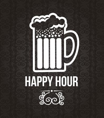 beer card: bar label over black background.
