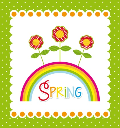 spring label with flowers and rainbow. vector illustration Stock Vector - 18073700