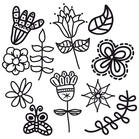 black flowers over white background. Stock Vector - 18073659