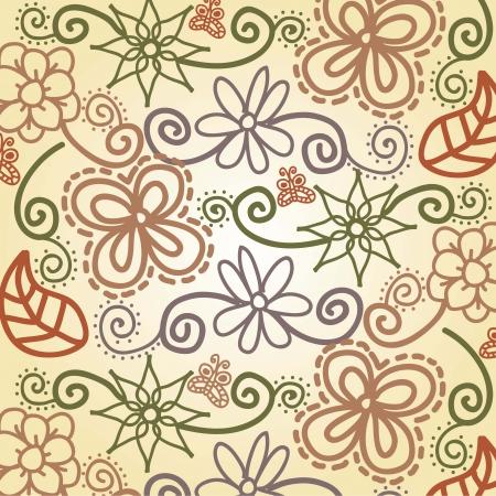 cute flowers over beige background. vector illustration Stock Vector - 18073670