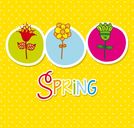 cute flowers over yellow background. vector illustration Stock Vector - 18073719