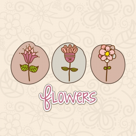 cute flowers over beige background. vector illustration Stock Vector - 18073704