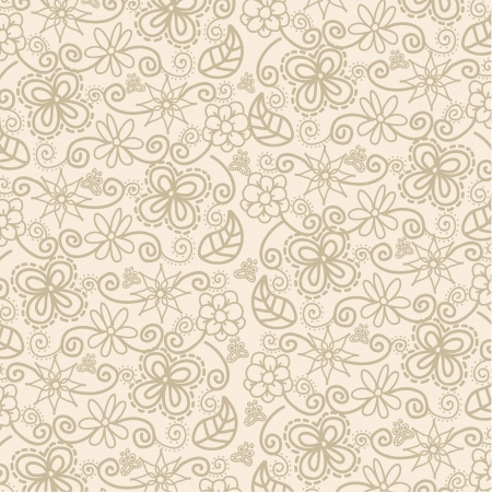 flowers over beige background, pattern. Stock Vector - 18073712