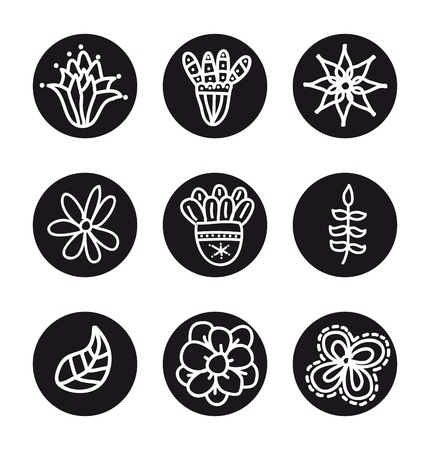 flowers icons over white background. Stock Vector - 18073632