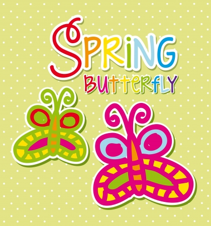 colorful butterfly over green background, spring. vector Stock Vector - 18073672