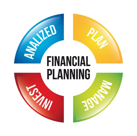 financial analysis: financial planning illustration over white background. vector