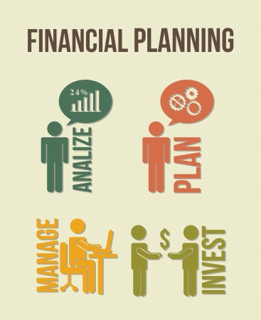 financial planning illustration over beige background. vector Vector