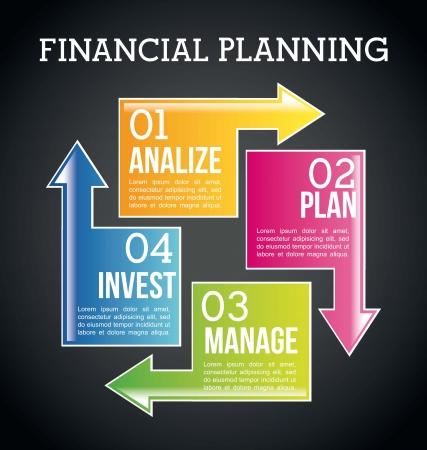 financial success: Finanzplanung Abbildung �ber schwarzen Hintergrund. Vektor