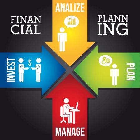 investment goals: financial planning illustration over black background. vector Illustration