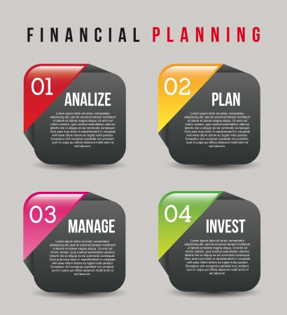 planing: financial planning illustration over gray background. vector
