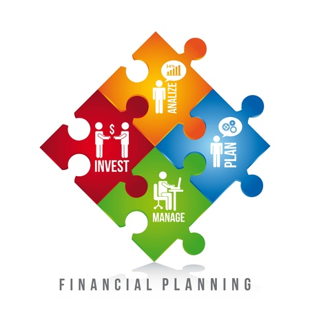planning: financial planning illustration over white background. vector
