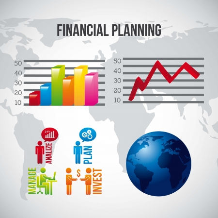 financial planning illustration over gray background. vector Vector