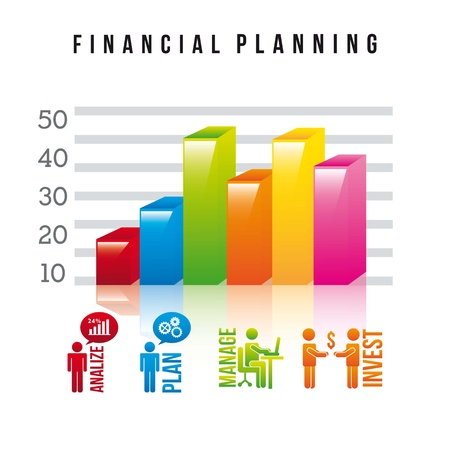 financial planning illustration over white background. vector Vector