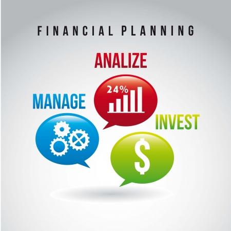 financial success: Finanzplanung Illustration auf grauem Hintergrund. Vektor
