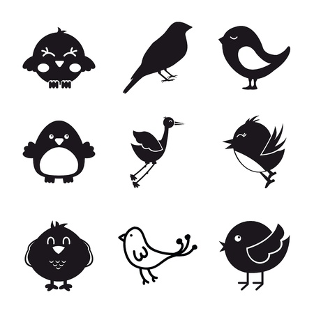 birds icons over white background.