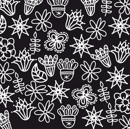 flowers pattern over black background.  Stock Vector - 18073485