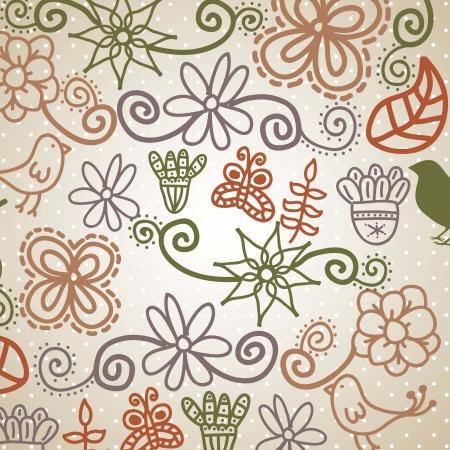 cute flowers over beige background. vector illustration Stock Vector - 18073617