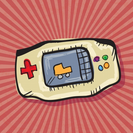 player controls: Video Games Icons ( Retro Console), on red background. Vector