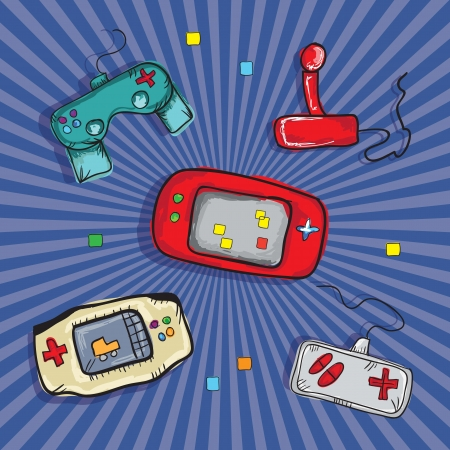 Video Games Icons ( Retro Consoles and controls), on blue background. Vector Vector