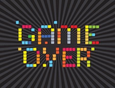 Game Over (pantalla de vídeo juegos). Sobre fondo negro