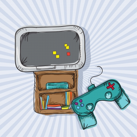 player controls: I Love Video Games (consoles and disorder). On blue background Illustration