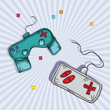 Vintage Video Games Controls. On Grey background. Vector Stock Vector - 18210943